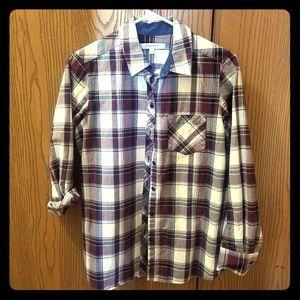 Foxcroft NYC button down plaid shirt